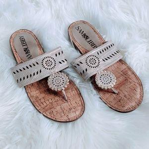 Sam & Libby Champagne Gold Laser Cut Sandals